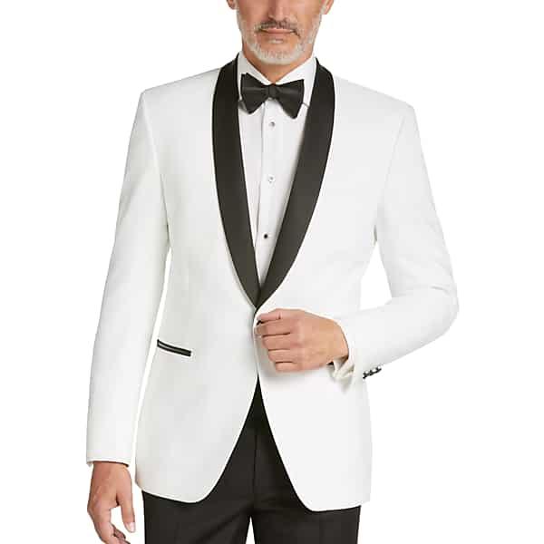 1960s Mens Suits | Mod, Skinny, Nehru Egara Mens White Slim Fit Dinner Jacket - Size 36 Short $139.99 AT vintagedancer.com