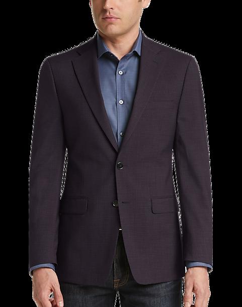 Boys Plaid Suit Blazer Slim Fit Notched Lapel Dress Check Sports Jacket