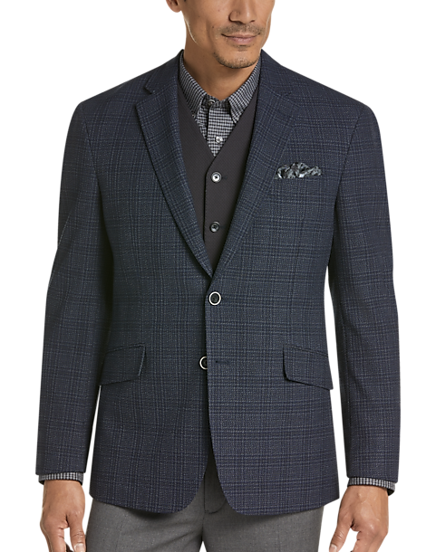 JOE Joseph Abboud Blue Plaid Slim Fit Sport Coat
