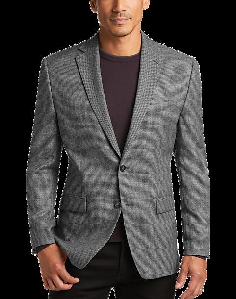 Calvin Klein Black & White Houndstooth Modern Fit Sport Coat