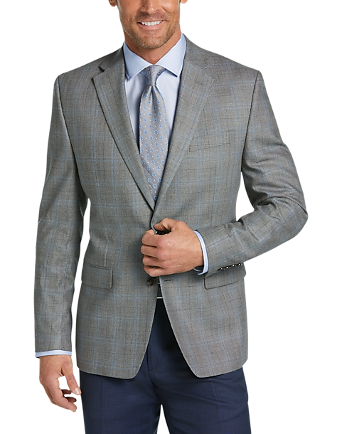 Lauren by Ralph Lauren Gray Windowpane Classic Fit Sport Coat
