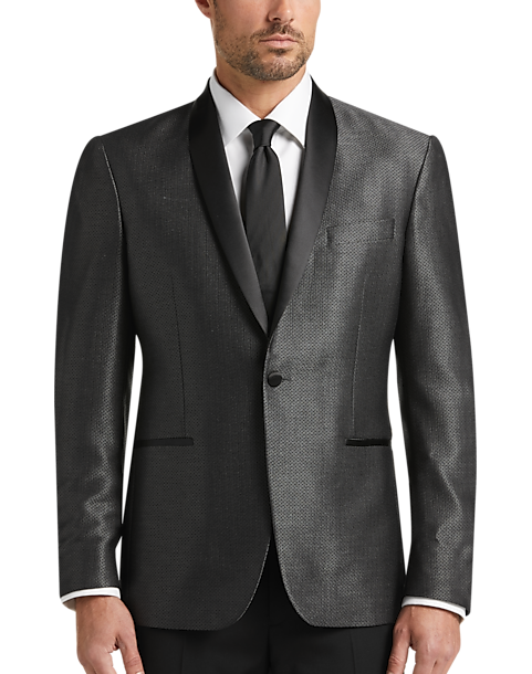Awearness Kenneth Cole Black & Gray Diamond Slim Fit Dinner Jacket