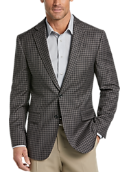 Egara Taupe Check Slim Fit Sport Coat