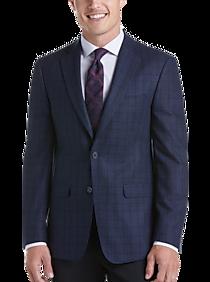 Calvin Klein Navy Plaid Slim Fit Sport Coat