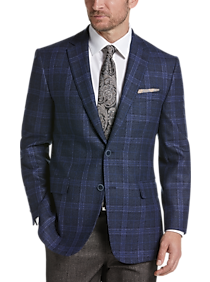 Mens Sport Coats Starting at $79, Clothing - Joseph Abboud Navy Plaid Modern Fit Sport Coat - Men's Wearhouse