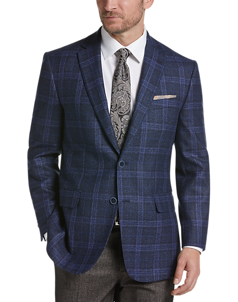 Joseph Abboud Navy Plaid Modern Fit Sport Coat