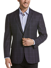 Mens Sport Coats - Joseph Abboud Limited Edition Wine Windowpane Modern Fit Sport Coat - Men's Wearhouse