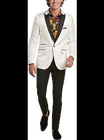 1960s Mens Suits | Mod, Skinny, Nehru Paisley  Gray Slim Fit Tuxedo Sport Coat Cream White Damask $49.99 AT vintagedancer.com