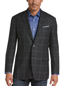 Joseph Abboud Charcoal Plaid Modern Fit Sport Coat