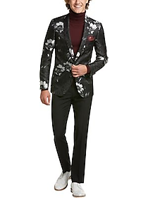 Paisley & Gray Slim Fit Sport Coat, Black and Silver Floral