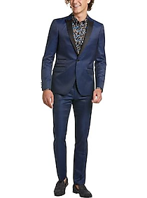 Mens Extreme Slim Fit, Sport Coats - Paisley & Gray Skinny Fit Sport Coat, Blue and Black Jacquard Dot - Men's Wearhouse