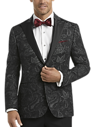 Joseph Abboud Graphite Paisley Slim Fit Formal Coat