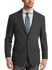 Awearness Kenneth Cole Charcoal Plaid Slim Fit Sport Coat