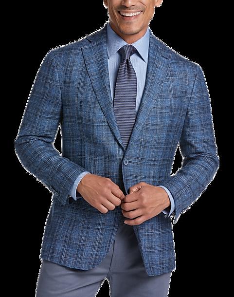 Joseph Abboud Dark Blue Plaid Modern Fit Sport Coat