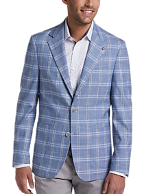 60s 70s Men's Jackets & Sweaters Suitor Blue Plaid Slim Fit Sport Coat $139.99 AT vintagedancer.com