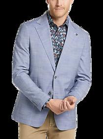 Mens Sport Coats - Suitor Light Blue Plaid Slim Fit Sport Coat - Men's Wearhouse