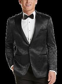 Mens Slim Fit, Sport Coats - Egara Black Geometric Leopard Slim Fit Formal Dinner Jacket - Men's Wearhouse