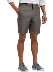 Mens Shorts, Pants - Joseph Abboud Charcoal Modern Fit Linen Shorts - Men's Wearhouse