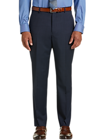 Awearness Kenneth Cole AWEAR-TECH Blue Check Slim Fit Dress Pants