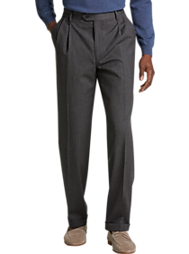 Joseph & Feiss Gray Classic Fit Pleated Dress Pants