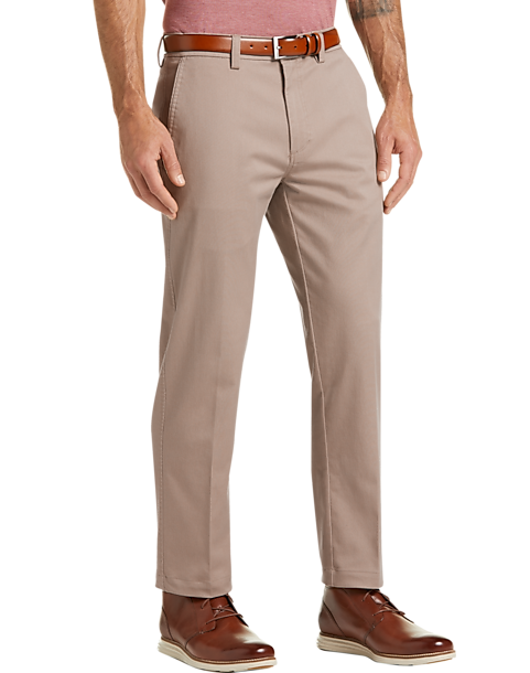 Haggar Iron Free Premium Tan Straight Fit Khaki Casual Pants - Men's Pants  | Men's Wearhouse