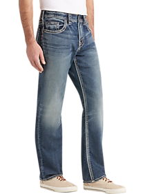 Mens Silver Jeans Co., Brands - Silver Jeans Co. Grayson Medium Blue Wash Relaxed Fit Jeans - Men's Wearhouse