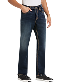 Mens Silver Jeans Co., Brands - Silver Jeans Co. Grayson Blue Dark Wash Classic Fit Knit Jeans - Men's Wearhouse