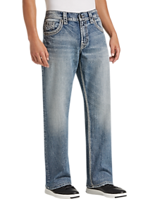 Mens Silver Jeans Co., Brands - Silver Jeans Co. Light Blue Wash Relaxed Fit Jeans - Men's Wearhouse
