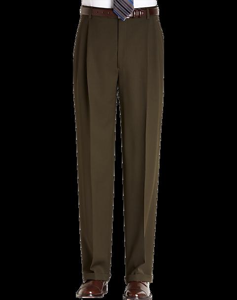 Joseph & Feiss Gold Classic Fit Dress Pants, Olive - Men's ...