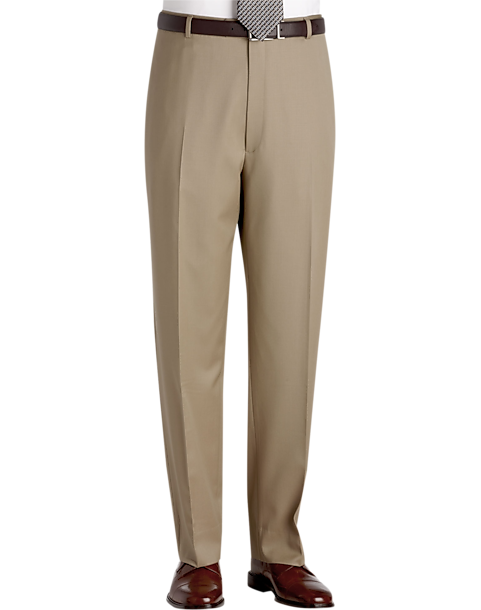 Austin Reed Tan Flat Front Long Rise Dress Pants Men S Pants Men S Wearhouse