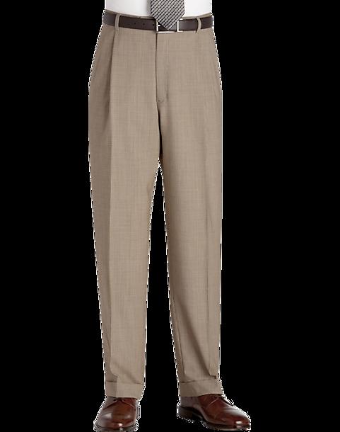 Austin Reed Tan Tic Pleated Regular Rise Dress Pants Men S Pants Men S Wearhouse