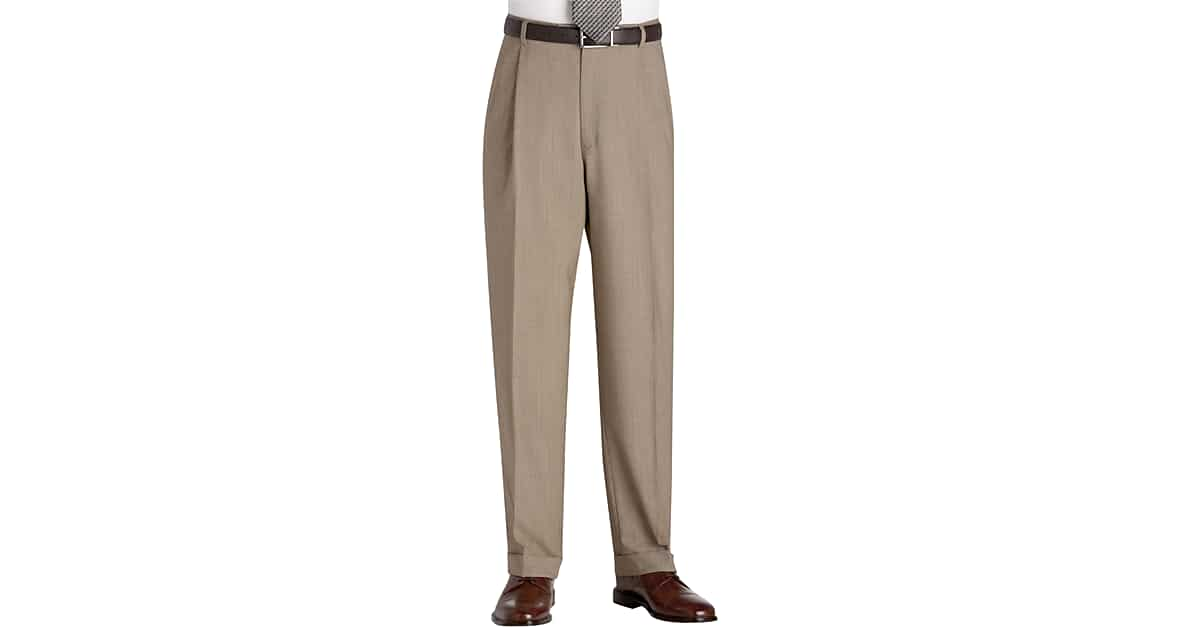 Austin Reed Tan Tic Pleated Regular Rise Dress Pants Men S Pants Men S Wearhouse