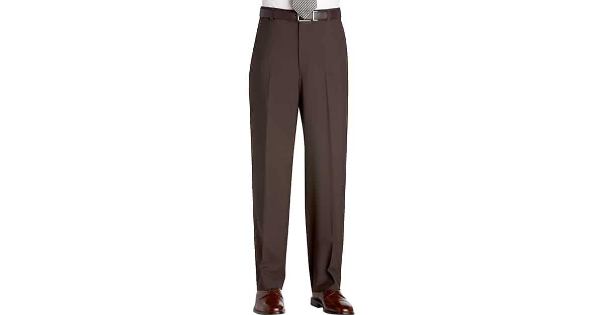 Austin Reed Brown Flat Front Regular Rise Dress Pants Men S Pants Men S Wearhouse