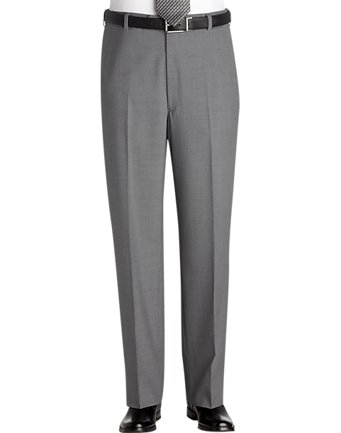 Austin Reed Gray Flat Front Regular Rise Dress Pants Men S Pants Men S Wearhouse