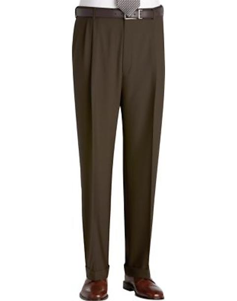 Austin Reed Olive Pleated Regular Rise Dress Pants Men S Pants Men S Wearhouse