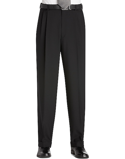 Austin Reed Black Pleated Long Rise Dress Pants Men S Pants Men S Wearhouse