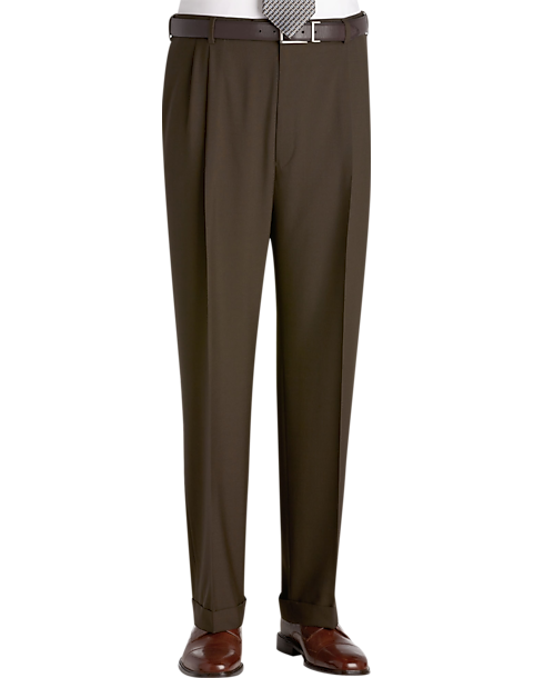 Austin Reed Olive Pleated Long Rise Dress Pants Men S Pants Men S Wearhouse