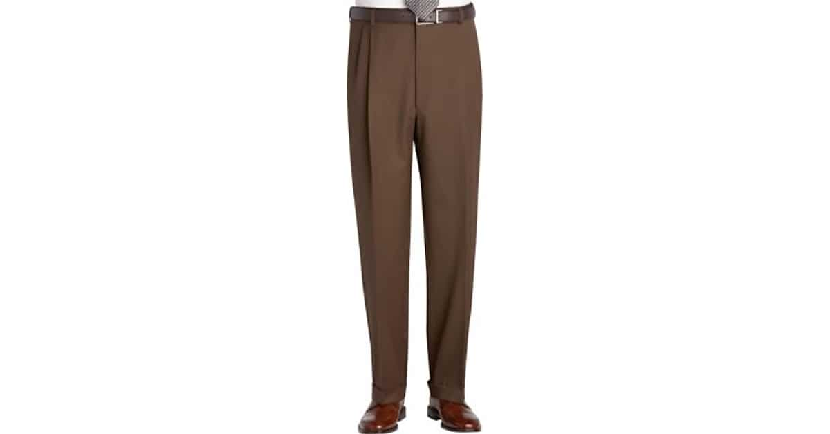 Austin Reed Brown Pleated Long Rise Classic Fit Dress Pants Men S Pants Men S Wearhouse