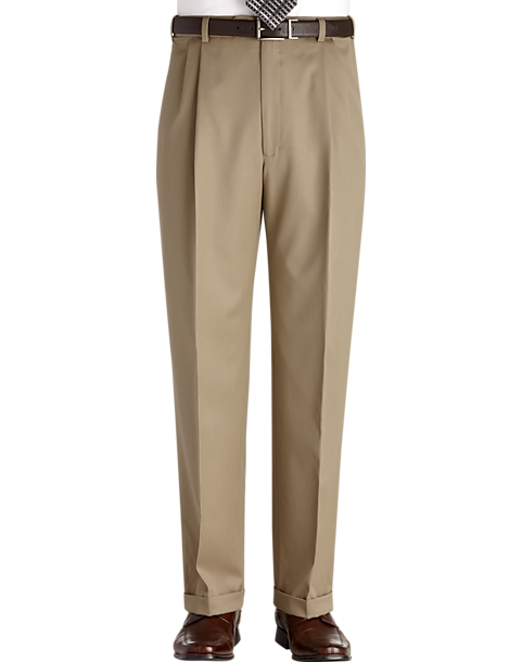 Austin Reed Tan Pleated Long Rise Classic Fit Dress Pants Men S Pants Men S Wearhouse