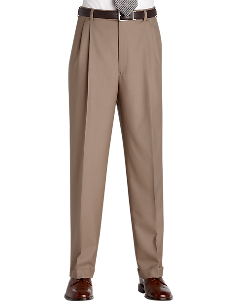 Austin Reed Tan Pleated Regular Rise Dress Pants Men S Pants Men S Wearhouse