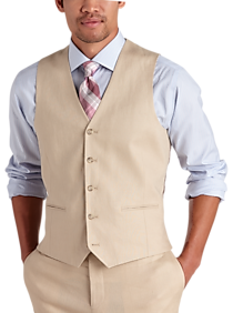 Pronto Uomo Platinum Modern Fit Linen Suit Separate Vest, Tan