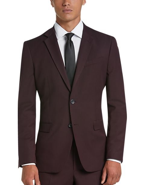 Egara Orange Burgundy Extreme Slim Fit Suit