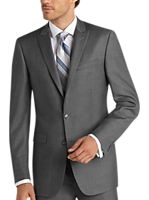Mens Suits - Calvin Klein X-Fit Gray Sharkskin Slim Fit Suit - Men's Wearhouse