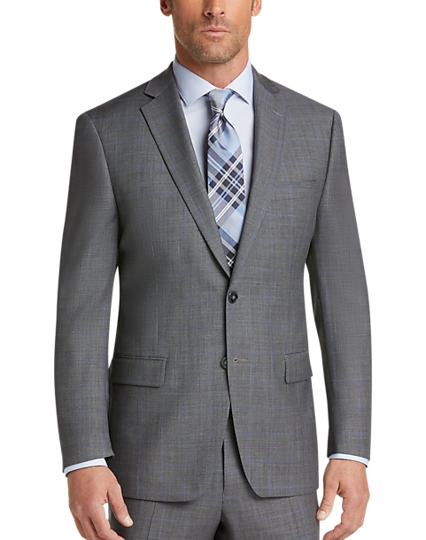 Calvin Klein Gray Plaid Modern Fit Suit