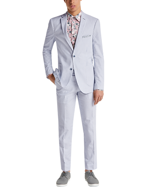 Paisley Gray Slim Fit Suit Separates Coat Blue White