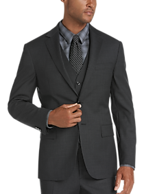 JOE Joseph Abboud Charcoal Plaid Slim Fit Vested Suit