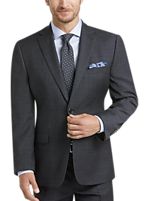 Calvin Klein Charcoal Plaid Modern Fit Suit