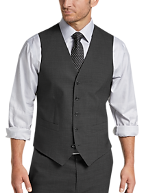 Joseph Abboud Charcoal Tic Modern Fit Suit Separates Vest