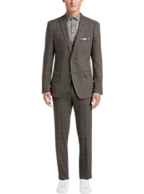 Mens Holiday Suits, Holiday Style - Paisley & Gray Slim Fit Suit Separates Coat, Olive & Brown Plaid - Men's Wearhouse