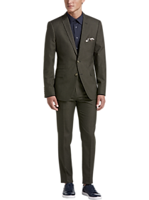Mens Holiday Suits, Holiday Style - Paisley & Gray Slim Fit Suit Separates Coat, Olive Sharkskin - Men's Wearhouse